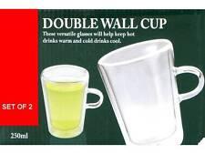 2 x VERRE THERMO DOUBLE PAROI LATTE thé café cappuccino tasses mugs 250ml Neuf