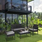 4 Pieces Patio Outdoor Furniture Set Garden Lawn Rattan Wicker Conversation Set