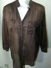 Chicos Womens 3 / 4 Sleeve Button Down Shirt Sheer Brown Cotton Size 1 NWT