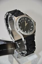 Marc by Marc Jacobs MBM 9030 Black & Silver Silicone Glitz Watch with Box