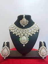 Indian Bollywood Style Bridal Fashion Necklace Earrings Costume Jewellery Set