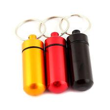 5 x Pill Box Bottle Holder WaterProof Aluminum Container Keychain Medicine Case
