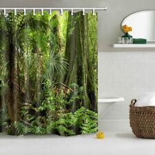 US Rainforest Jungle Trees Leaves Shower Curtain Liner U0026 12 Hooks Bathroom  Decor