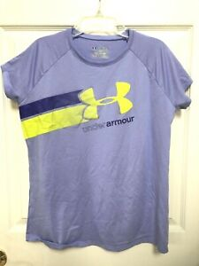 Girl's Under Armour HeatGear Loose Fit Periwinkle Lime Green Athletic T Shirt XL