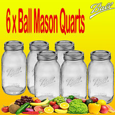 Ball Mason Quart (1 Litre) Regular Mouth Jars and Lids Canning Preserving 6pk