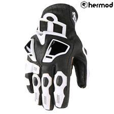 Icon Hypersport Short Leather Motorbike Motorcycle Gloves - White