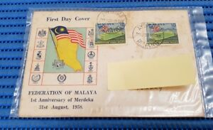 1958 Federation of Malaya First Day Cover 1st Anniversary of Merdeka
