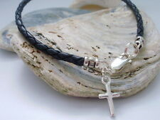 Mens Bracelet Black Braided Leather 925 Sterling Silver Cross Charm Clasp - gift