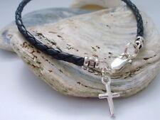 Mens Black Leather Bracelet, Sterling Silver Cross Charm, Braided, Gift for Men