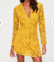 Missguided Mustard plunge lace twist front dress £45 UK 6 - UK 12 (QD 7)