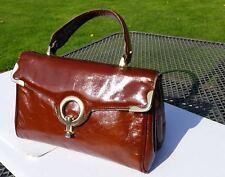 ORIGINALE vintage con borsetta di pelle verniciata ricco marrone stile classico bellissimo