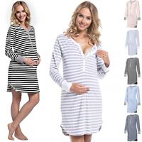 Happy Mama. Women's Maternity Hospital Nightdress Nursing Nightie Stripes. 589p