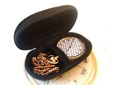 Pocket Watch Case Storage Black Hard Shell Zip Up With Space For A Watch Chain