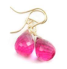 Pink Tourmaline Earrings 14k gold filled Faceted Watermelon Sim Briolette Drops