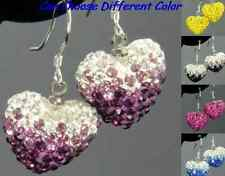 5pair/lot mix multicolor Gradient change drop Crystal Heart Shamballa earrings