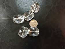 6 pcs Crystal Clear Large 30X26mm Faceted Rounded Rectangle Shaped Acrylic Beads