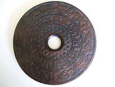 Ältere Bi-Scheibe aus Jade China handgeschnitzt 15cm Durchm.
