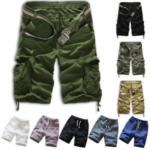 Casual Men Cotton Summer Beach Army Combat Camo Work Cargo Shorts Pants Trousers