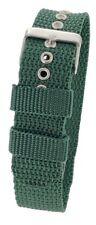 Green One-Piece Nylon Sports Fabric Thread Through Watch Strap 18 / 20 / 22mm