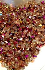 100 Austrian Crystal Glass Bicone Beads - Half Gold Metallic With Pink AB - 4mm