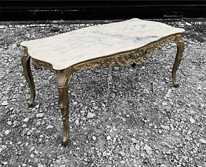 LOVELY ANTIQUE 20TH CENTURY FRENCH BRASS & MARBLE TOPPED COFFEE TABLE, C1920