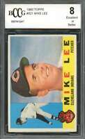 1960 topps #521 MIKE LEE cleveland indians rookie card BGS BCCG 8