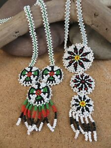 2 Vintage Native American Red White Green Eagle Bird Flower Bead Necklace NA207