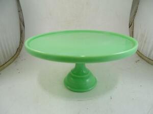 "Antique Green Jadeite Glass Cake Pedestal Stand 12"" Wide Vintage 1900s Compote"