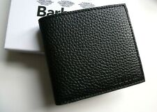 Genuine BARBOUR Black LEATHER Billfold WALLET Cards Notes *TARTAN LINING* BAR2
