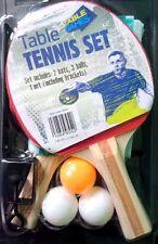 Retro Mini Table Tennis Set, 2 Red Bats, Ping Pong Balls, Net and brackets gift
