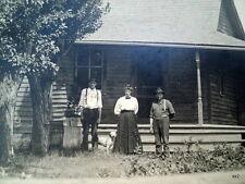 Old Real Photo Postcard 2 Men 1 Woman Hunting Dog Farmhouse Greenleaf Wisc RPPC