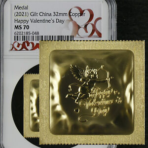 2021 Gilt China 32MM Copper Happy Valentine s Day NGC MS 70