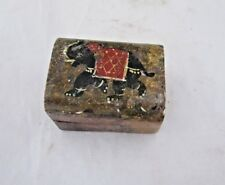 Vintage Old Small Stone Marble Beautiful Elephant Picture On Top Trinket Box