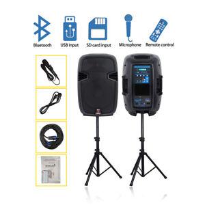 "12"" 2000W Powered PA Active Speakers Pair 2-Way Karaoke Speaker Stands Wired Mic"