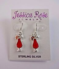 Cocktail drink earrings drink umbrella red silver .925 hook fasteners dangle
