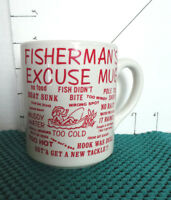 "Cup/Mug, ""Fisherman's Excuse Mug"", White w/Red Printing, Holds 8 oz., Funny"