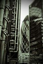 30 St Mary Axe The Gherkin between Lloyds and Willis Building London Photograph