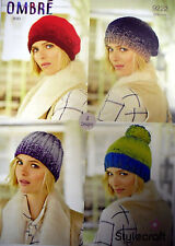 Stylecraft Ladies Hats Ombre Knitting Pattern 9222 Aran
