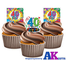 Colourful 40th Birthday Party Mix 12 Cup Cake Toppers Edible Decorations