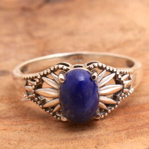 Lapis Lazuli Gemstone 925 sterling Silver Jewelry Solid Handmade Ring size US 8