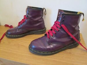 Dr martens purple leather size 8 UK used vintage womens mens unisex boots