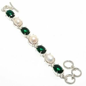 """faceted Chrome Diopside- Russia & Pearl 925 Sterling Silver Bracelet 7.99"""" B-0"""