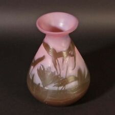 Original Emile Galle Art Nouveau Jugendstil Glas Vase Wasserlilien in rosa glass