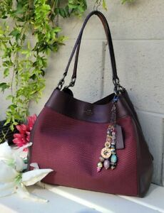 Coach legacy jacquard leather lexy shoulder hobo purse handbag oxblood 57540