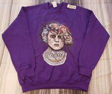 Tim Burton Movies Beetlejuice,Willy Wonka, Edward Men's Purple Sweatshirt Sz M