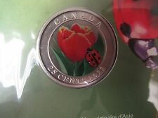 Canada 2011 Coloured 25 Cents Tulip with Ladybug
