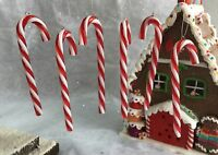 6x Acrylic Candy Cane Canes Christmas Tree Decorations Gisela Graham Gingerbread
