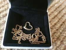 9CT 9KT GOLD 375 heart pendant & chain, necklace 2 to 3 grams