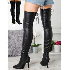 Para mujer alto del muslo sobre la rodilla Tacón Stiletto Zapatos Elástico