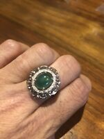 Vintage Silver  Lucky Green Nephrite Jade Size 7 Ring